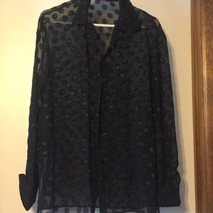 Tops - Black sheer blouse with circular patterns. Size 22
